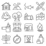 Line Leisure and outdoor recreation activities icon set stock photo