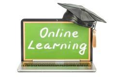 On-line-Lernkonzept mit Laptop, Wiedergabe 3D Lizenzfreie Stockfotos