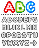 Line letters alphabet set. Part 1, letters A - Z, shades of gray Royalty Free Stock Photos