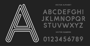 Line letters and numbers set on black background. Monochrome vector latin alphabet. Lacing white font. Rope ABC, maze