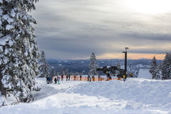 Line for lift at Mt.Hood. Ski area at Timberline Lodge, Oregon. Ski activity at winter sunset stock photos