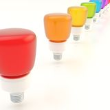Line of light bulbs Stock Images