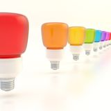 Line of light bulbs Royalty Free Stock Images