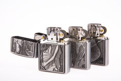 Line of lighters. Some line of lighters on white background royalty free stock photo