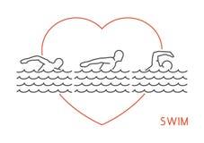 Line  logo for swim. Stock Photo