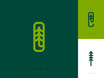 Line logo template or icon with fir tree and letters Stock Image
