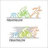 Line  logo for triathlon. Stock Image