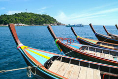 Line of long tail boat Ruea Hang Yao tied together in the sea Royalty Free Stock Photos