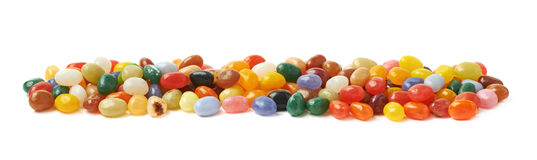 Line made of jelly beans isolated Royalty Free Stock Photography