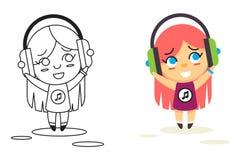 Line Man Geek Hipster Headphones Listen Street Stock Images