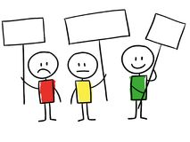 Line men holding signs from unhappy to happy, cartoon style illu. Line man holding sign up seeming unhappy, neutral and happy, review or satisfaction concept Royalty Free Stock Photography