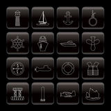 Line Marine, Sailing and Sea Icons Royalty Free Stock Photos