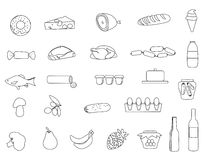 Line Market food icons set. Royalty Free Stock Images
