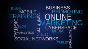 On line, marketing tag word cloud - blue background. stock video