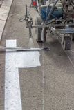 Line marking applicator with nozzle holder 5 Royalty Free Stock Photo