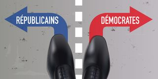 Line marking the difference between the Democratic and Republican vote in the United States vector illustration