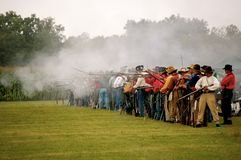 Line of marksmen. At N-SSA competition Royalty Free Stock Images