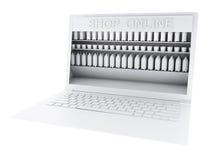 on-line-Markt des Einkaufs 3d auf weißem background Lizenzfreie Stockbilder
