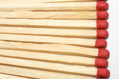 Line of matchsticks. Close-up of a row of matchsticks Stock Images