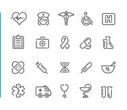 Medical Icon Set // Blue Line Series. Line medical icons for your digital or print projects Stock Photography
