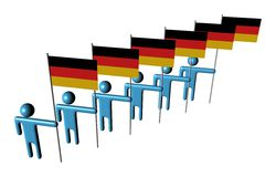 Line of men with German flags Stock Photography