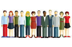 Line of men and women. Illustration of a line of colorful, mainly young, men and women dressed in red, white, green, brown, purple, gray and black clothes and Stock Photos