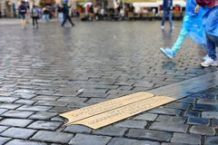 Line of Meridian square in Prague. Metal Line of Meridian embedded in the pavement in the square in Prague stock photo