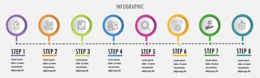 Line minimal Infographic design template vector illustration