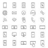 30 Line Mobile Icons Stock Image