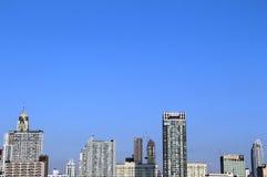 Bangkok cityscape under blue sky. Line of modern high buildings under clear blue sky Stock Image