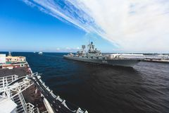 A line of modern russian military naval battleships warships in the row, northern fleet and baltic sea fleet in the open sea Stock Photo