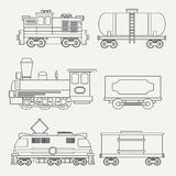 Line modern and vintage trains with cargo wagons and tank icons set. Steam, diesel and electric locomotives. Vector Stock Photos