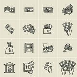 Line money icons, finance, business icons set, hand holding money, hand holding credit card. Linear money icons, finance, business icons set, hand holding money Royalty Free Stock Photo