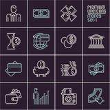 Line money vector icons set  on dark background. Hand holding money Stock Photos
