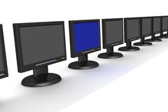 Line of the monitors Stock Photo