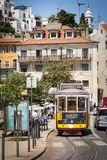 Famous classic Tram No. 28 in Lisbon. Porgutal royalty free stock images