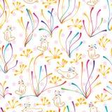 Line motion bird seamless pattern Stock Image