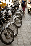Line of Motorcycles on a Street in Guanajuato, Mexico Stock Photo