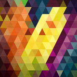 Line move on colorful triangle background fabric texture Stock Image
