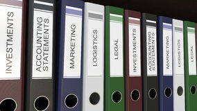 Line of multicolor office binders with Corporate departments tags 3D rendering. Line of multicolor office binders with Corporate departments tags Royalty Free Stock Images