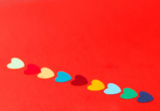 Line of multicolored paper hearths Stock Photo