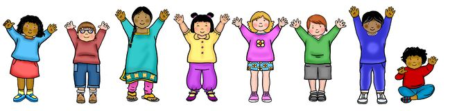 Line of multicultural kids waving royalty free illustration