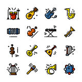 Line Musical instruments icons vector illustration Royalty Free Stock Photo