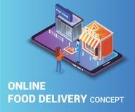 On-line-Nahrungsmittellieferungs-Konzept-isometrische Grafik, wo ein Mann Frauen Essenstablett gibt lizenzfreie abbildung