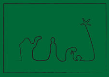 Line Nativity on Green. Simple Nativity done in a single rough line on a green background with a simple rough border royalty free illustration