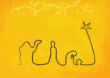 Line Nativity on Yellow Royalty Free Stock Images