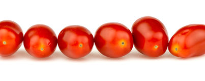 Line of natural organic red cherry grape tomatoes isolated on wh Royalty Free Stock Photos
