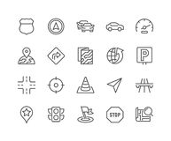 Line Navigation Icons. Simple Set of Navigation Related Vector Line Icons. Contains such Icons as Map, Pin, Car, Road, Highway and more. Editable Stroke. 48x48 Royalty Free Stock Images