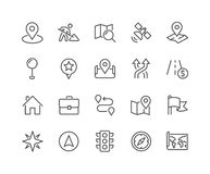 Line Navigation Icons. Simple Set of Navigation Related Vector Line Icons. Contains such Icons as World Map, Office Location, Traffic Light, Compas and more Stock Image