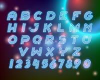 Line neon alphabet font letters set Stock Photography